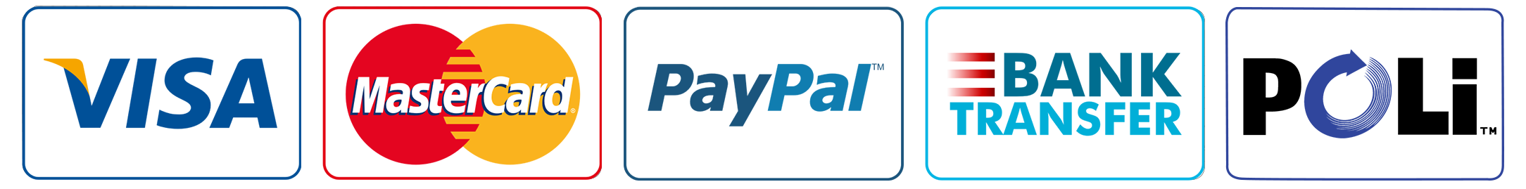 Picture of accepted payment methods - Paypal-visa-poli-bank-transfer